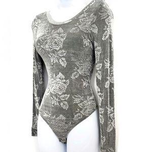 Victoria's Secret Grey Floral Bodysuit Size Small